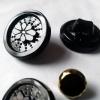 黑色花形水晶玻璃钮脚纽扣