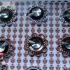 【水晶配件】花形双层双色圆形镜面钻饰品配件