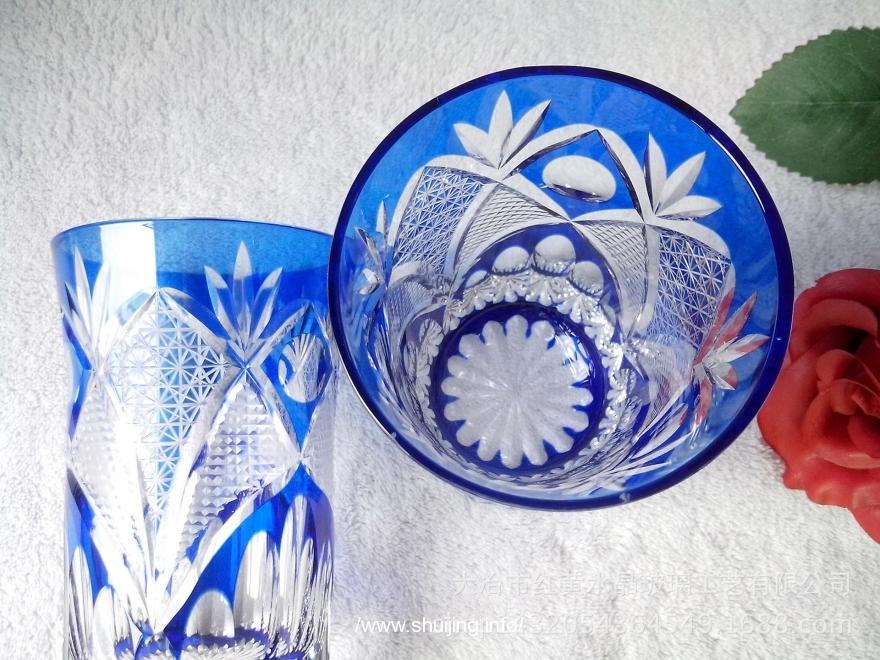 套色玻璃手工刻花水杯产品